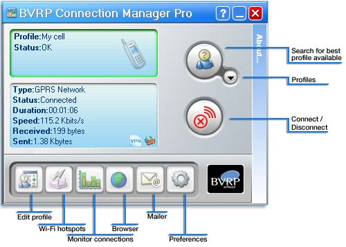 BVRP Connection Manager LITE automatic network connection software Screen Shot