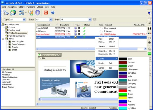 Send faxes from your PC with FaxTools eXPert via Internet or modem;use Outlook. Screen Shot